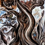 "Birth of Mother Nature's Son : 30""x60"" : Inks, kaolin pigments on clayboard"