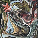"""Two Worlds : 48"""" x 60"""" : Inks, kaolin clay, gold leaf on clayboard"""